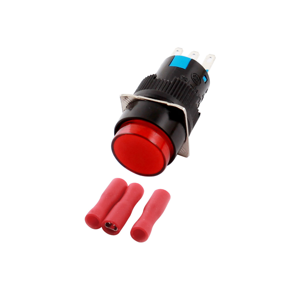 AC 250V 5A 3Pins 16mm Threaded Panel Mounted SPDT Red Button Latching Round Pushbutton Switch w 3pcs Female Connectors