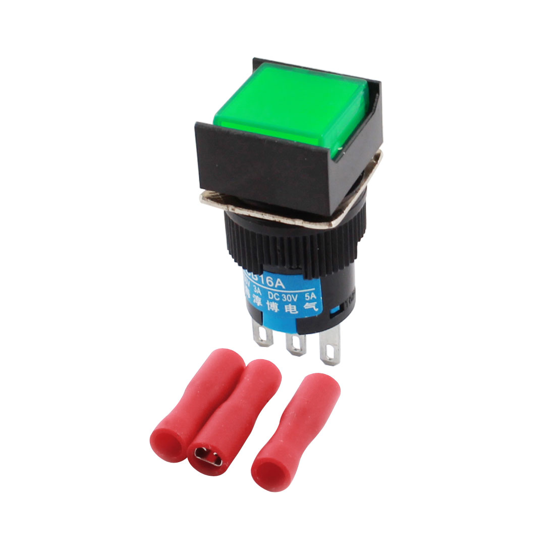 Green Button 3Pins 16mm Threaded Panel Mounted SPDT Locking Rectangle Head Pushbutton Switch w Crimp Terminals
