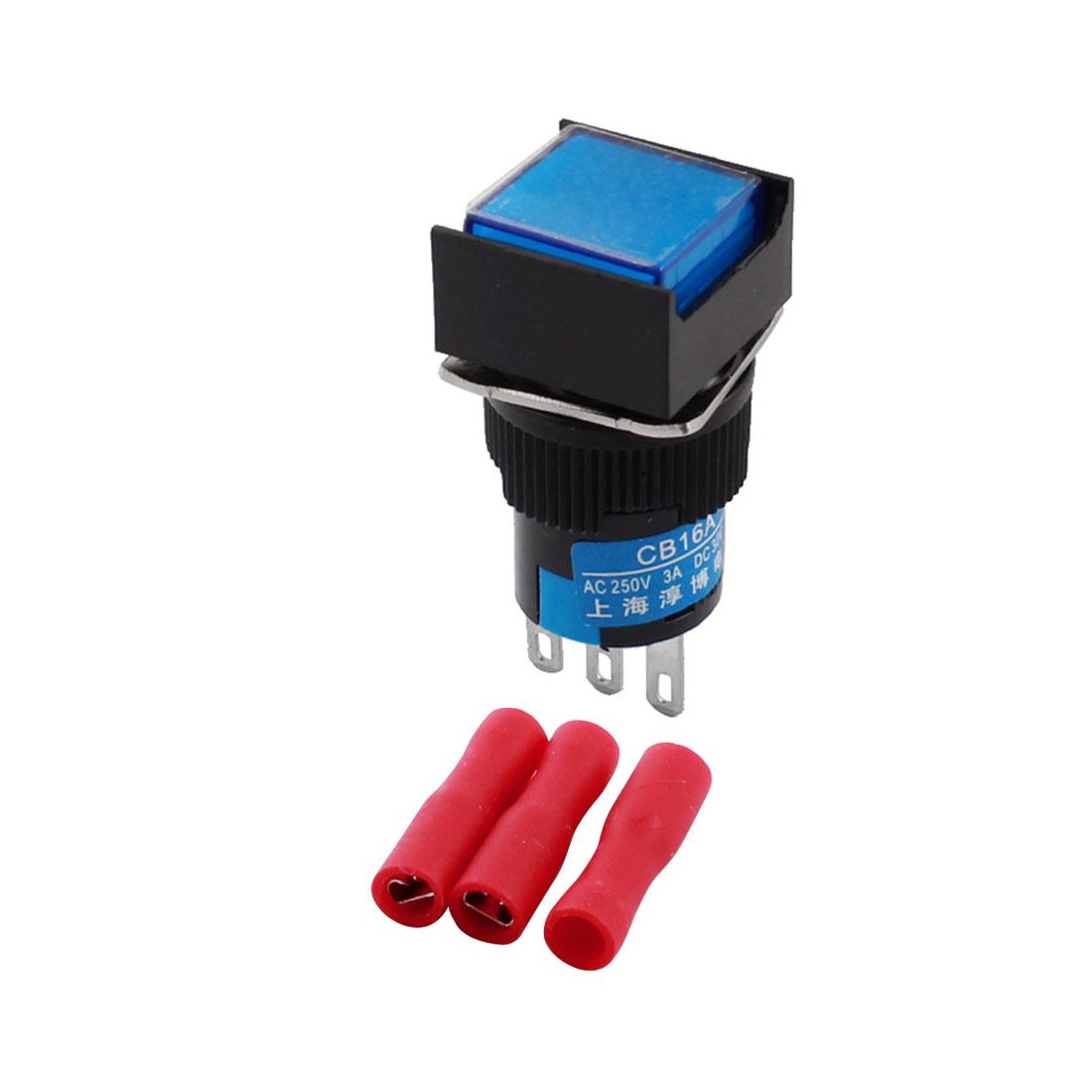 AC 250V 3A DC 30V 5A Blue Button 16mm Thread 3Pins Panel Mount SPDT Locking Square Head Pushbutton Switch + 3pcs Crimp Connectors