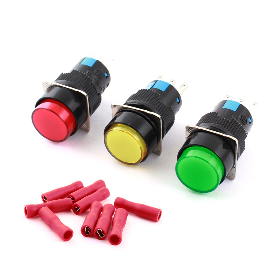 3Pcs Red Yellow Green Head 16mm Threaded Panel Mounted SPDT Latching Round Pushbutton Switch w Crimp Terminals