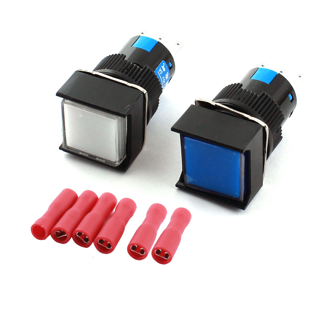 2pcs White Blue Button 3Pins 16mm Thread Panel Mounted SPDT Latching Square Pushbutton Switch + 6pcs Crimp Connectors