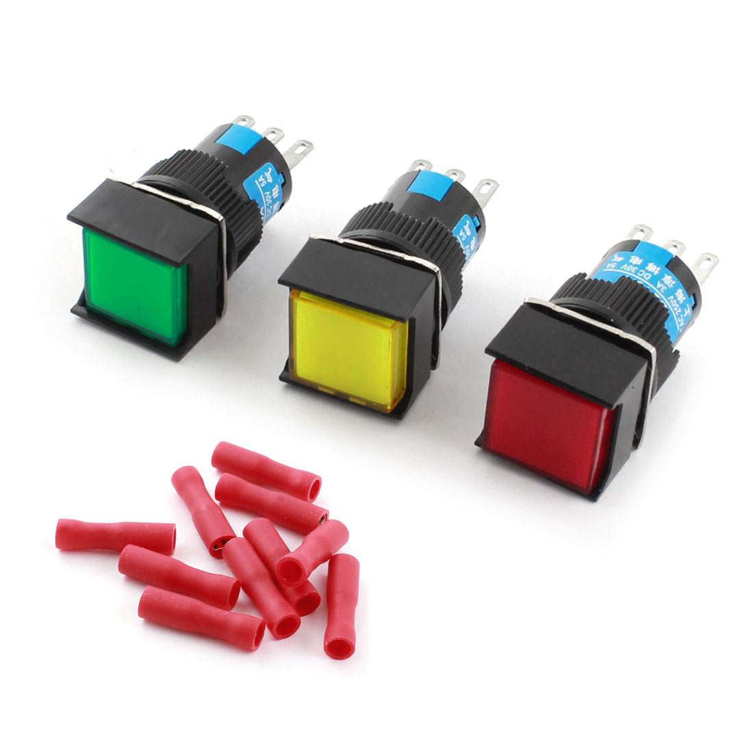 3pcs AC 250V 3A Latching Square Push Button Switch w Spade Connector