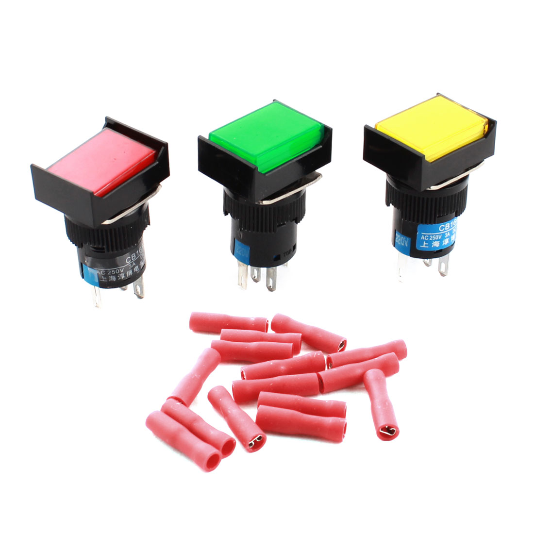 3pcs AC220V Red Green Yellow Pilot Light 5Pins 16mm Thread Panel SPDT Locking Rectangle Head Pushbutton Switch + 15pcs Crimp Terminals