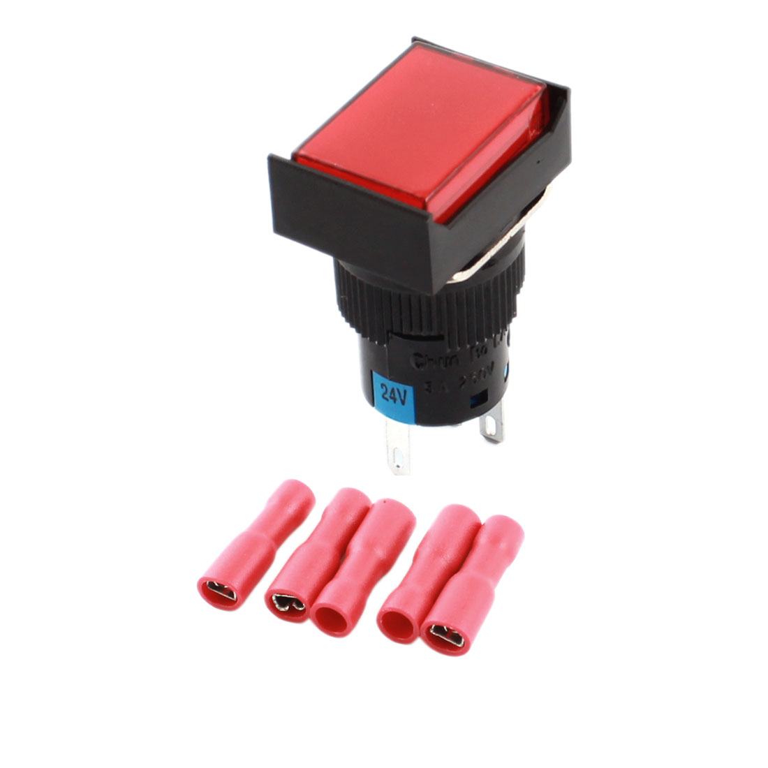 DC24V Red Light Lamp Momentary Pushbutton Switch + 5 x Crimp Connectors