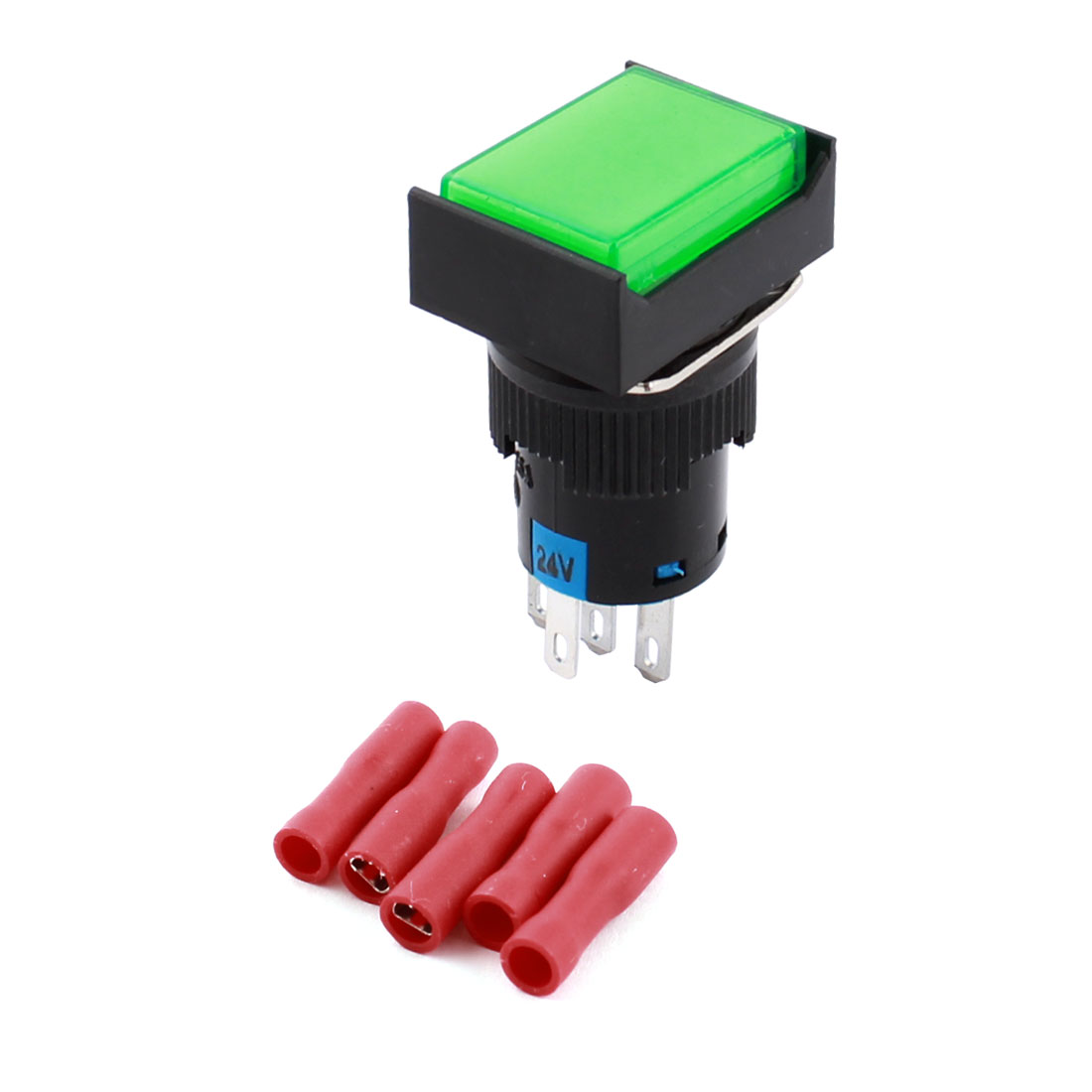 DC 24V Green Pilot Light 5Pins 16mm Threaded Panel Mounted SPDT Momentary Rectangle Head Pushbutton Switch w Crimp Terminals
