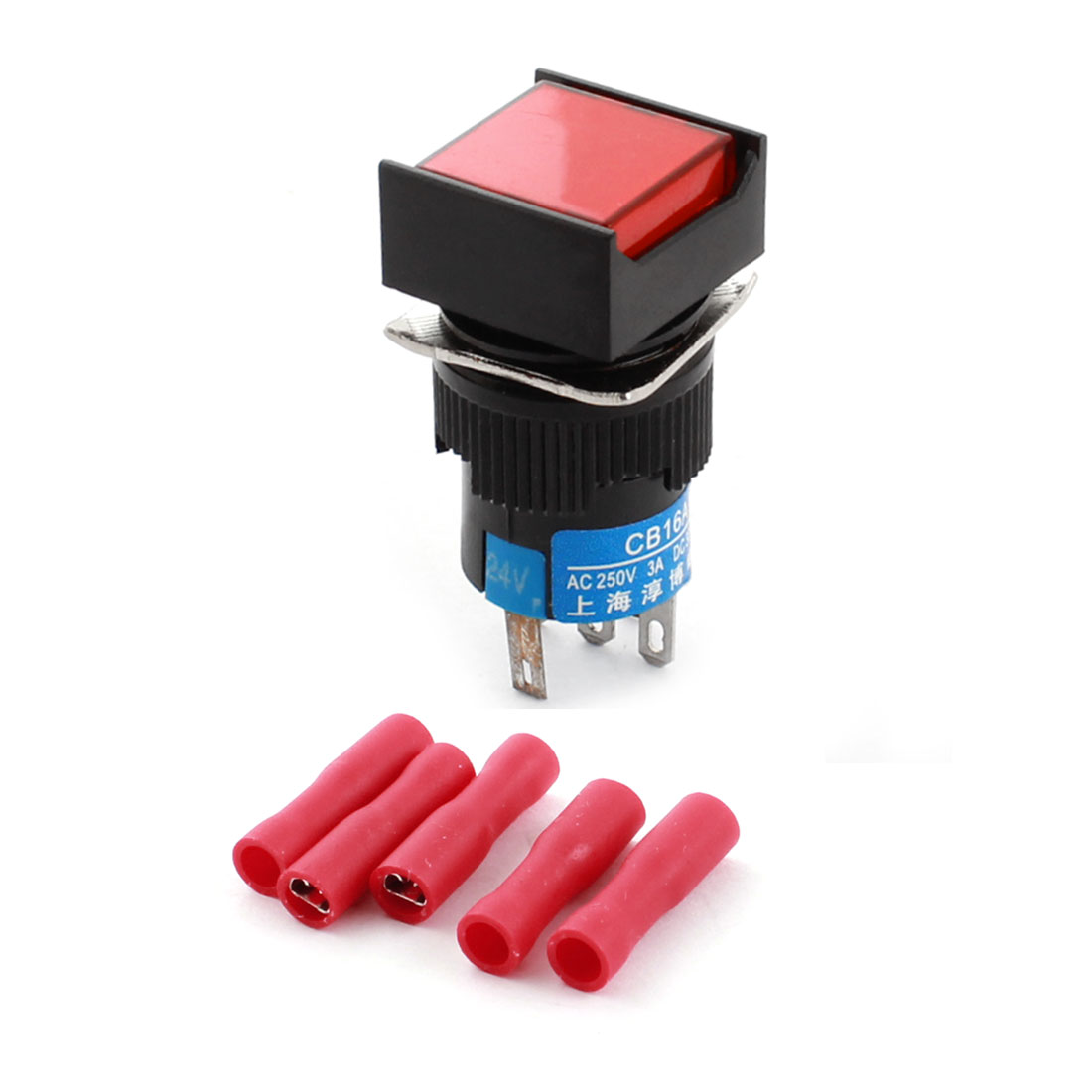 DC 24V Red Lamp Momentary Square Push Button Switch + Insulated Crimp Terminal