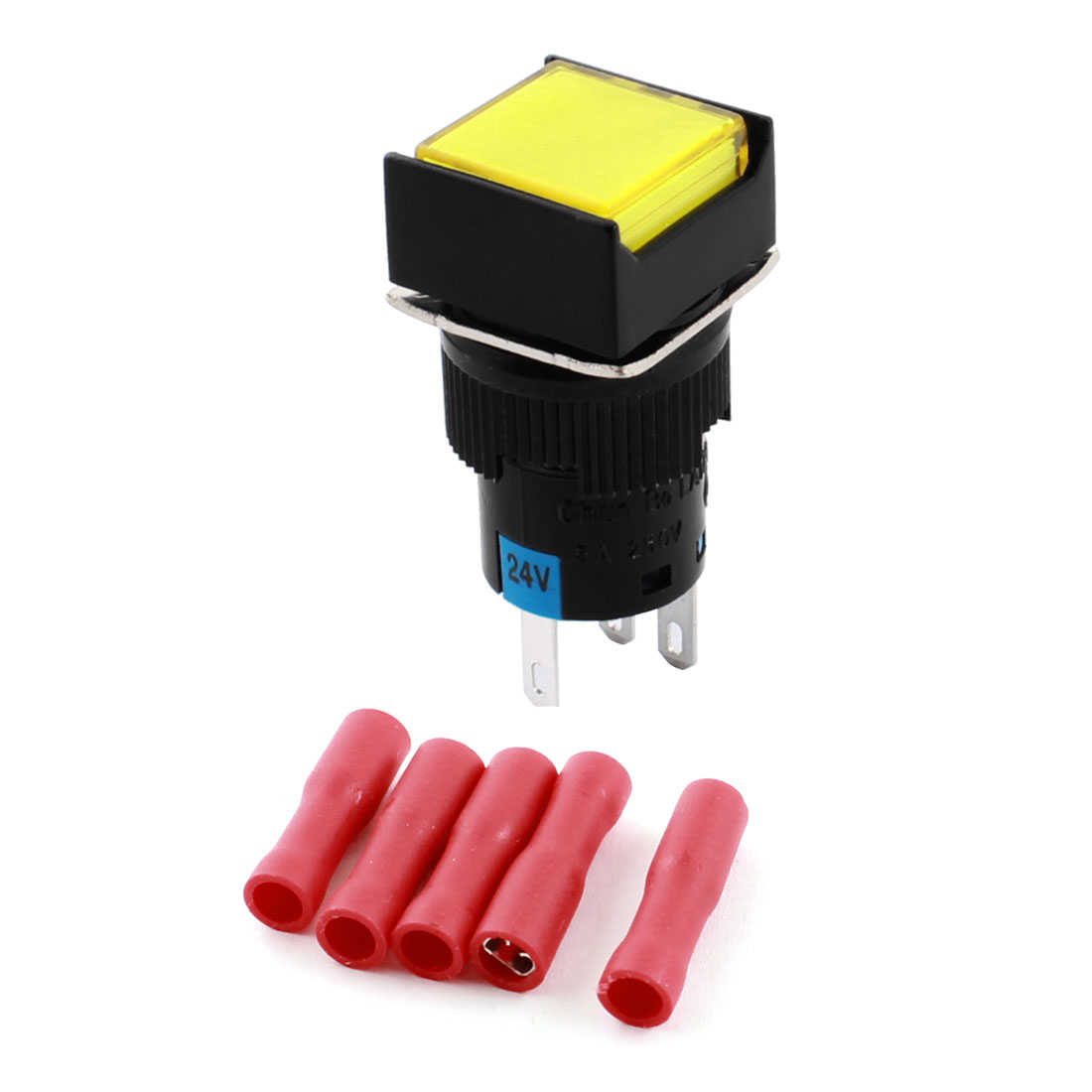 DC24V Yellow Pilot Light 5Pins 16mm Threaded Panel Mounted SPDT Momentary Rectangle Head Pushbutton Switch w Crimp Terminals