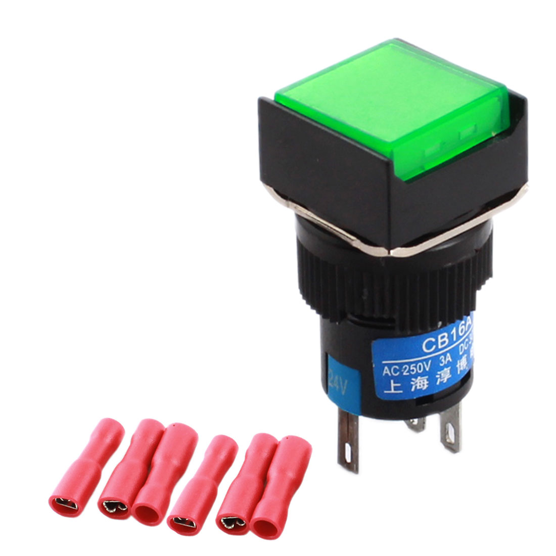 DC 24V Green Pilot Light 5-Pin 16mm Thread Panel Mount SPDT Momentary Square Push Button Switch + 5pcs Female Terminals