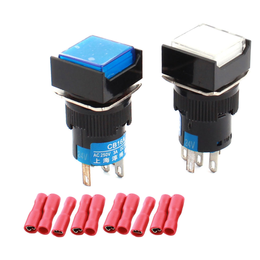 2Pcs DC24V Blue White Pilot Light 16mm Thread Panel Mount SPDT 5Pins Momentary Square Pushbutton Switch w Crimp Termianls