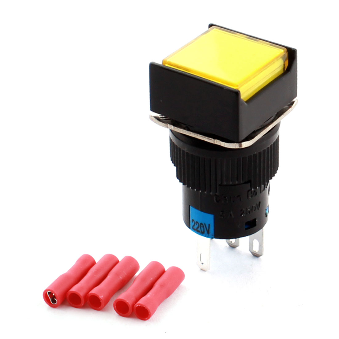AC 220V Yellow Pilot Light Lamp 5Pin 16mm Panel Mount SPDT Self Locking Square Push Button Switch + 5pcs Female Connectors