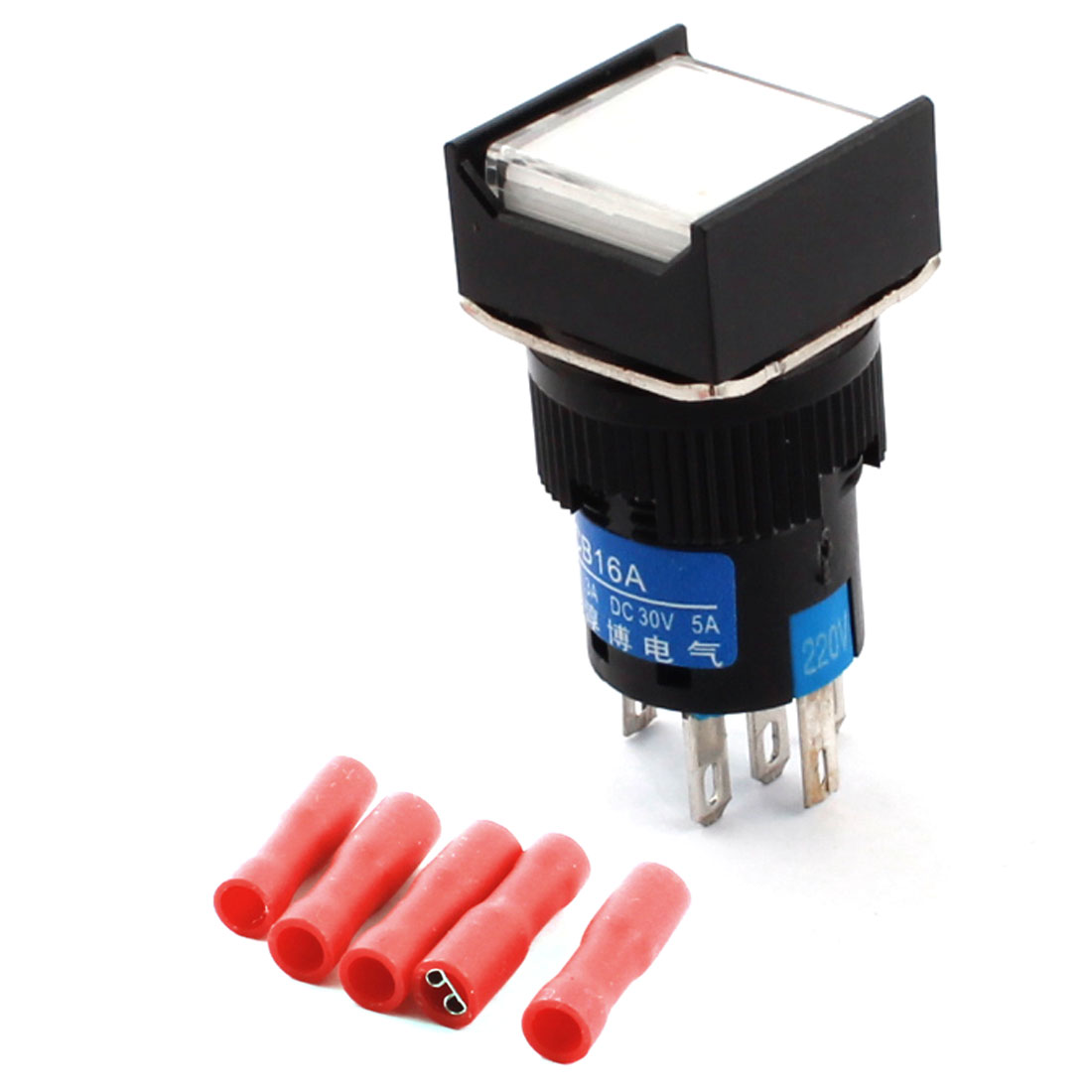 AC 220V White Pilot Lamp 5Pins 16mm Thread Panel Mounted SPDT Self Locking Square Head Pushbutton Switch + 5pcs Crimp Connectors