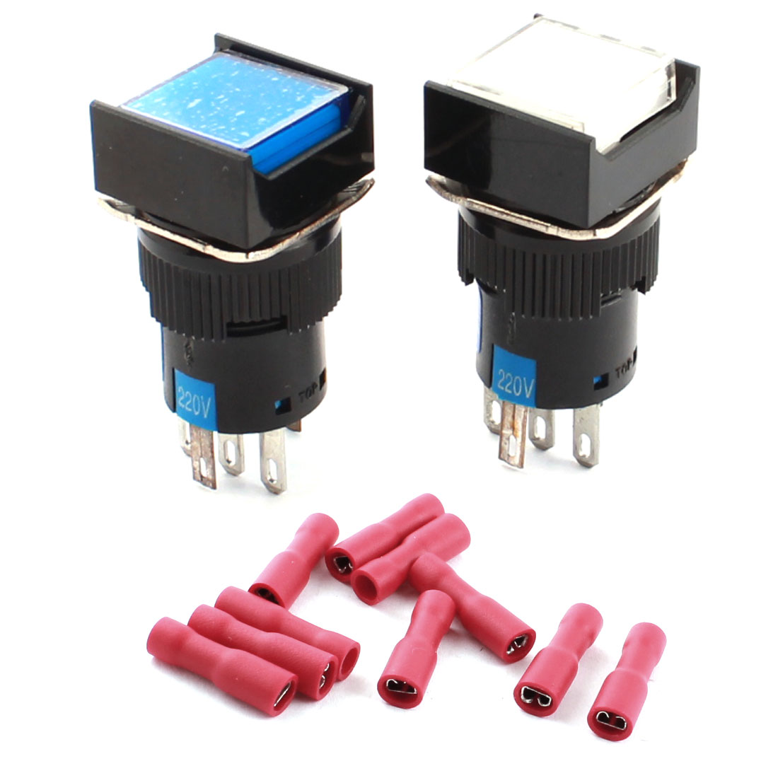 2Pcs AC220V Light White Blue Indicator Rectangle Head SPDT 5 Pins Locking Pushbutton Switchs w Female Connectors