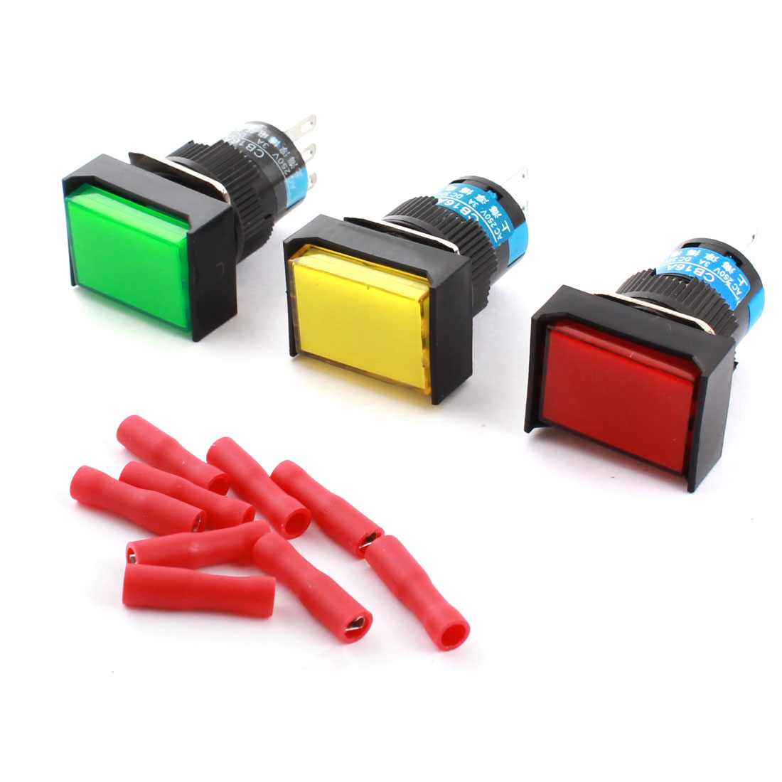3 PCS 3Pins 16mm Threaded Panel Mounted SPDT Red Green Yellow Button Latching Rectangle Pushbutton Switch + 9pcs Crimp Terminals