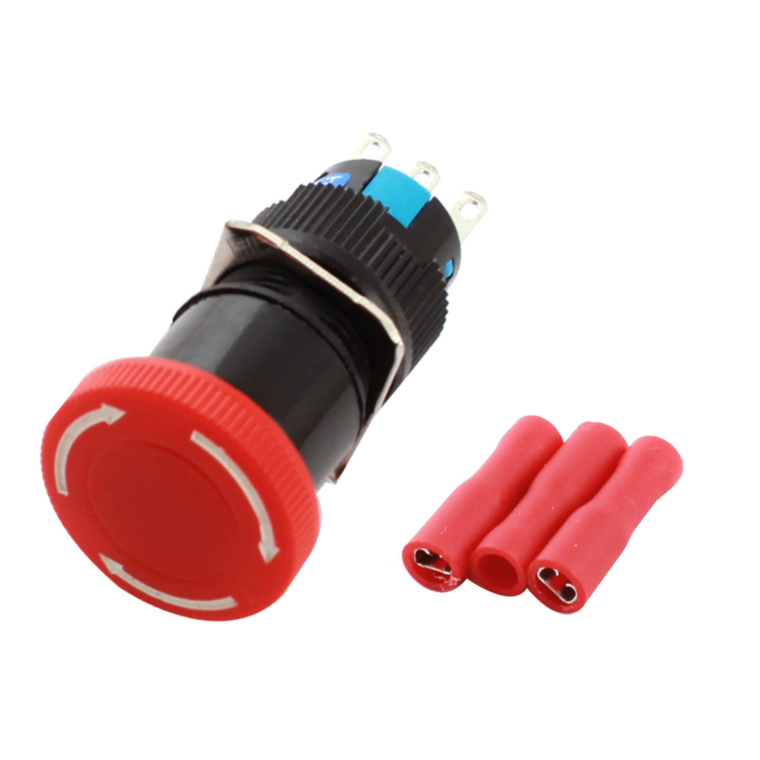 AC250V 3A 16mm Thread Panel Mount SPDT Mushroom Head Plastic Push Button Switch Red