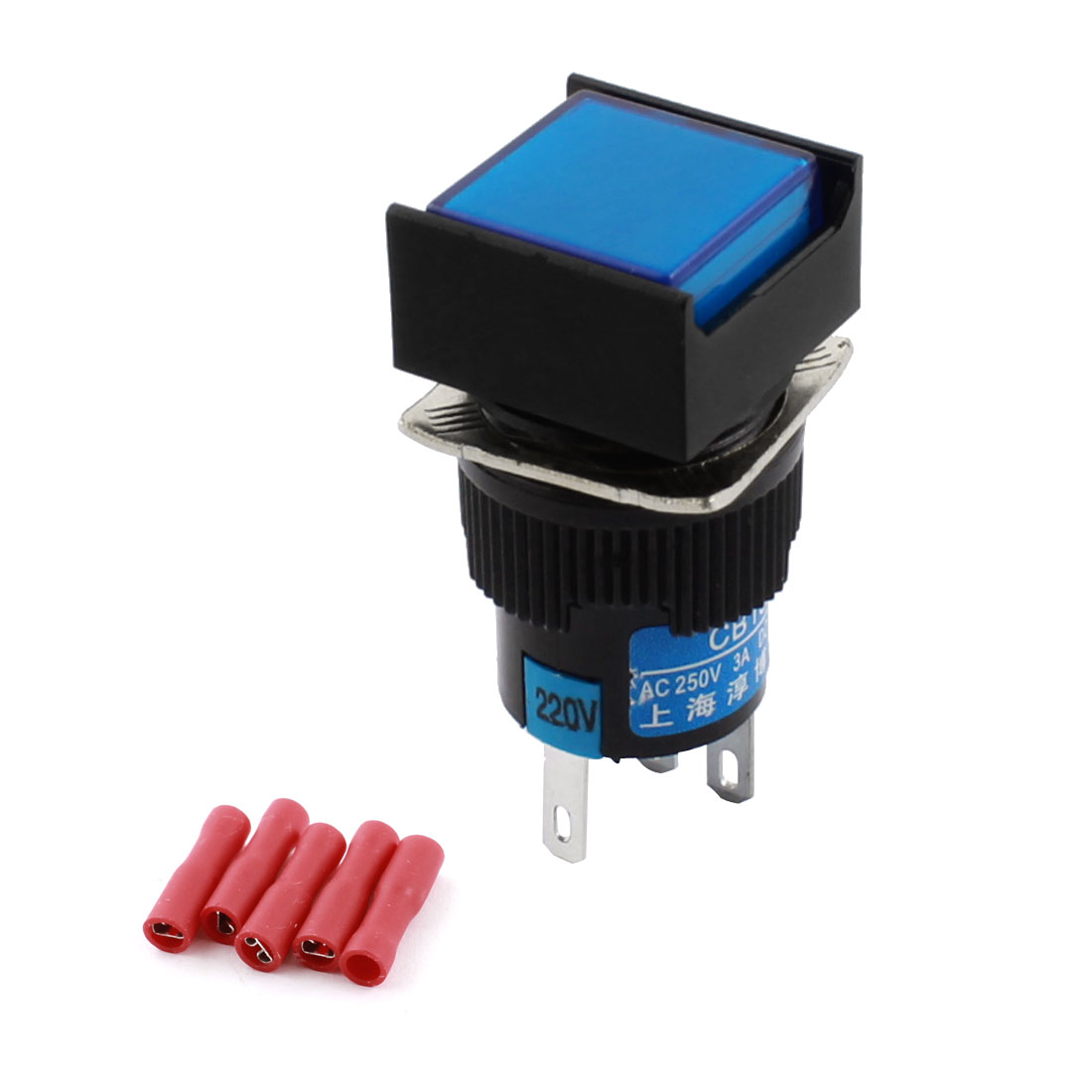 AC220V Blue Pilot Light 5Pins 16mm Threaded Panel Mounted SPDT Momentary Rectangle Head Pushbutton Switch w Crimp Terminals