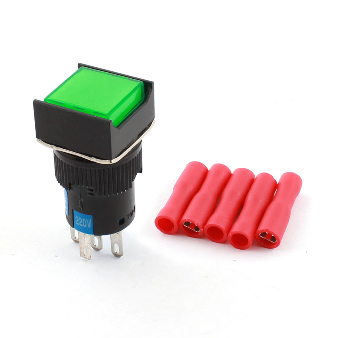 AC 220V Green Indicator Light 5Pins 16mm Thread Panel Mounted SPDT Momemtary Square Pushbutton Switch w 5pcs Compatible Terminals