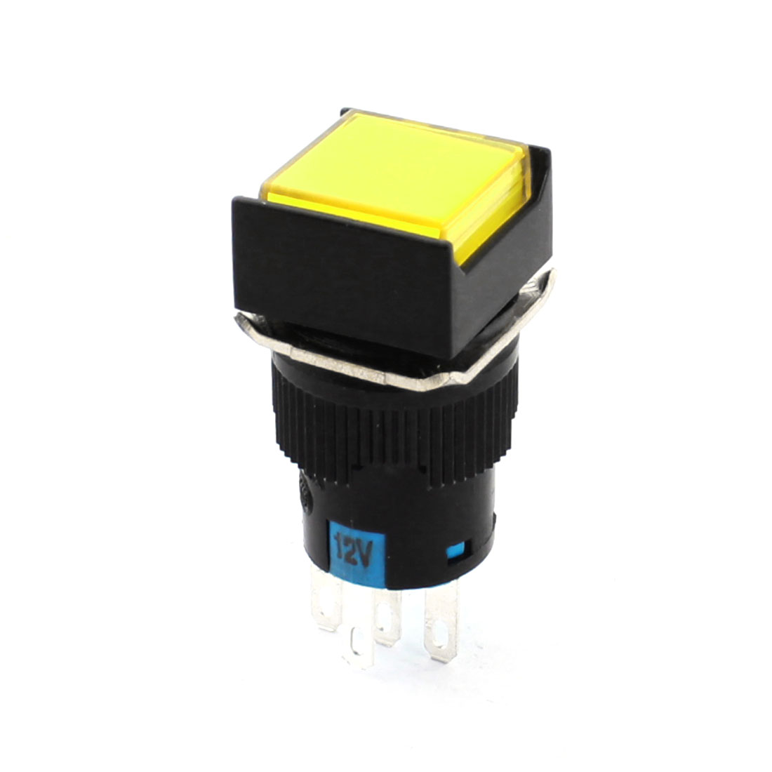 DC 12V Yellow Light Lamp 5Pin 16mm Panel Mount SPDT Momentary Action Square Push Button Switch + 5pcs Connectors
