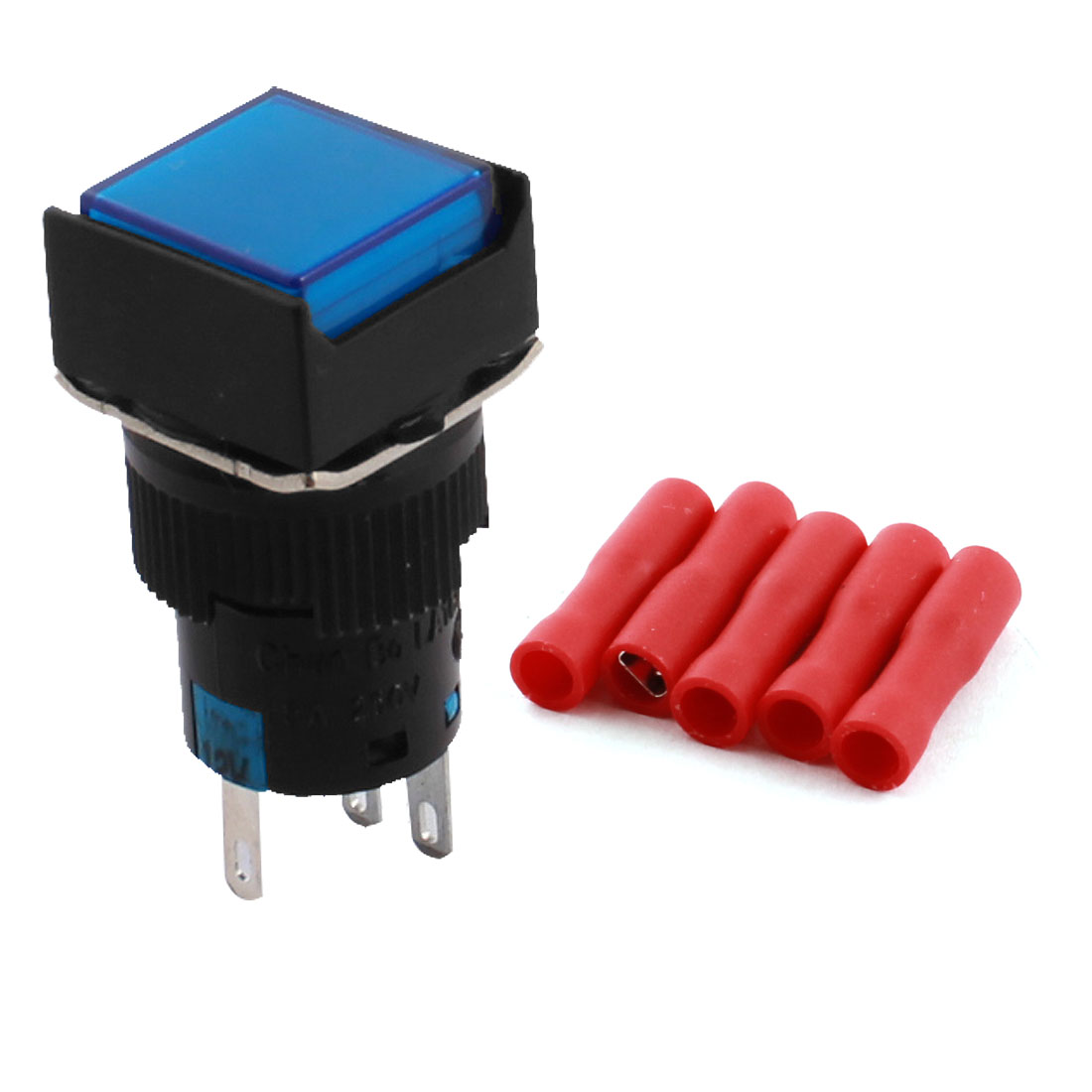 DC 12V Blue Pilot Light Lamp 5Pin 16mm Panel Mount SPDT Momentary Square Push Button Switch + 5pcs Connectors