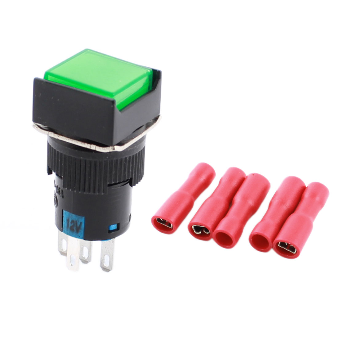 DC 12V Green Indicator Light 5Pins 16mm Thread Panel Mount SPDT Non Locking Square Pushbutton Switch + 5pcs Crimp Terminals