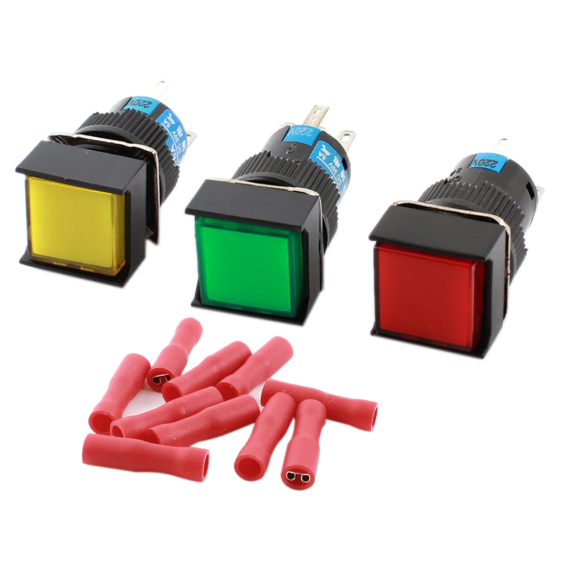 3Pcs AC 220V Red Green Yellow Pilot Light 5Pins 16mm Panel Mount SPDT Momentary Square Pushbutton Switch + 10pcs Crimp Terminals