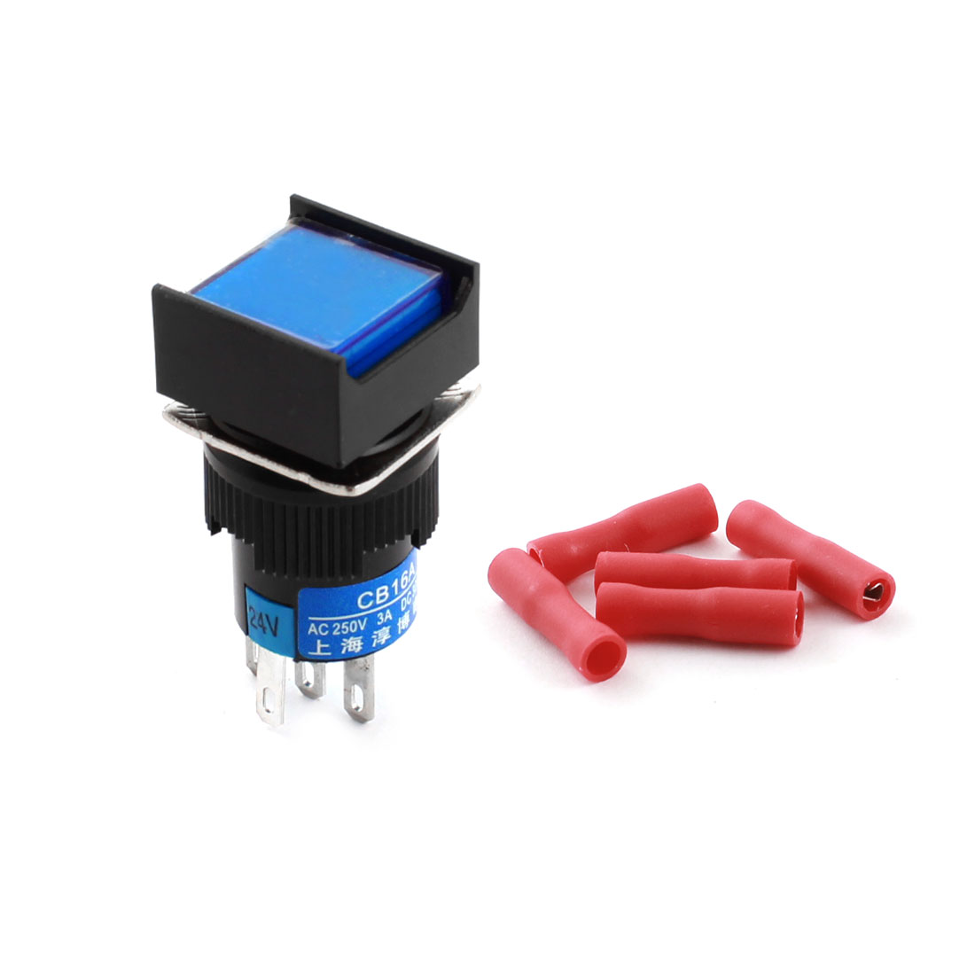 DC 24V Blue Lamp Locking Square Push Button Switch + Insulated Crimp Terminal
