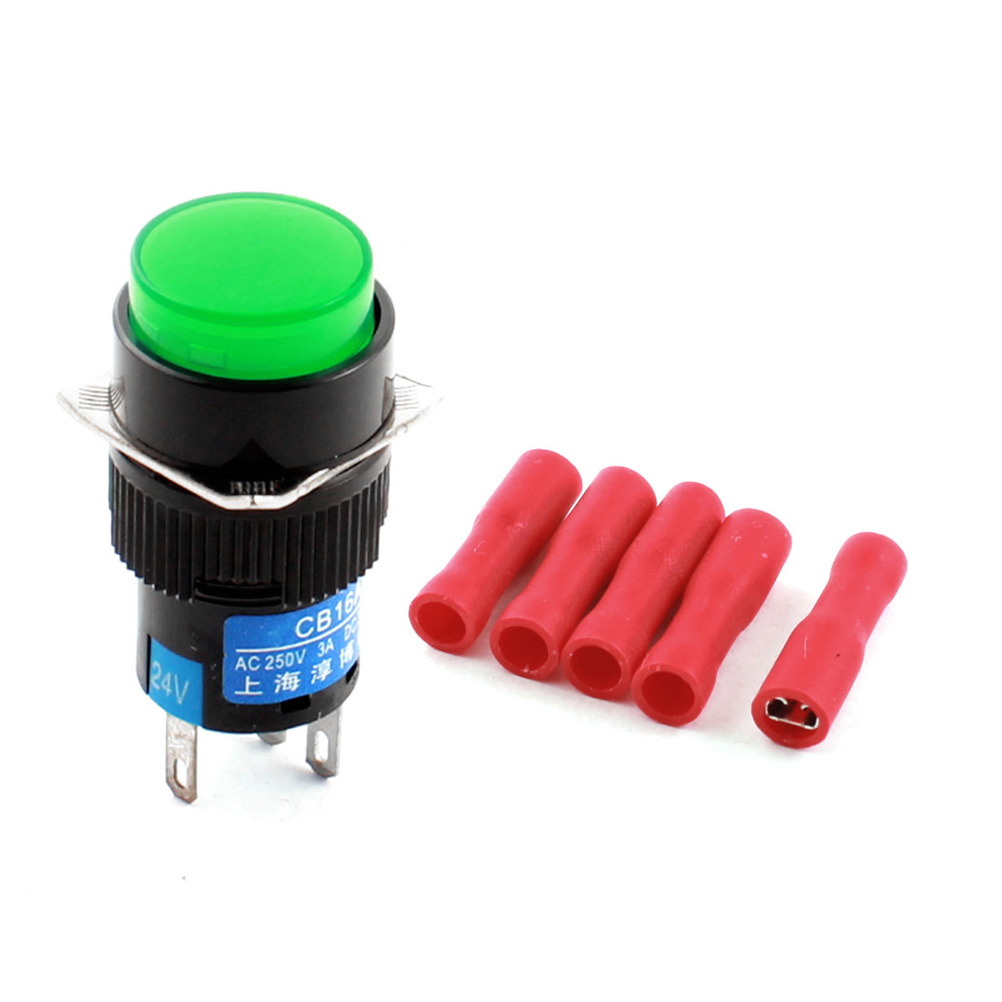 DC 24V Green Lamp SPDT Self Locking Round Push Button Switch w Female Connector