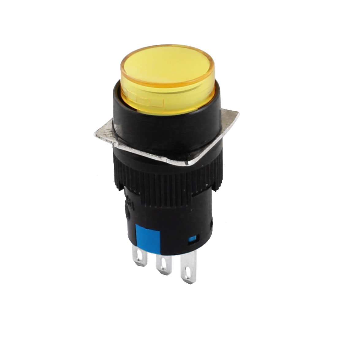 Yellow 3Pins 16mm Threaded Panel Mounted SPDT Momentary Round Pushbutton Switch w 3 x Crimp Terminals