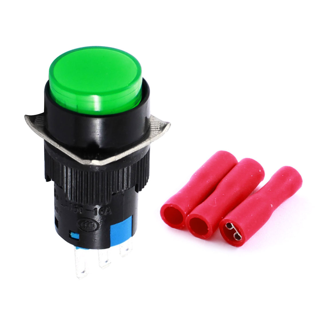 Green 16mm Threaded Panel Mounted SPDT Momentary Round Pushbutton Switch w 3 x Crimp Terminals