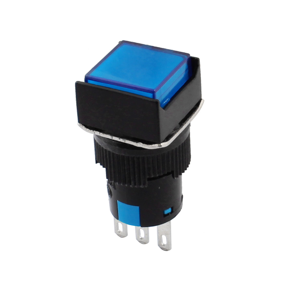 AC 250V 5A 3Pins 16mm Thread Panel Mounted SPDT Momemtary Blue Button Square Pushbutton Switch w Crimp Connectors