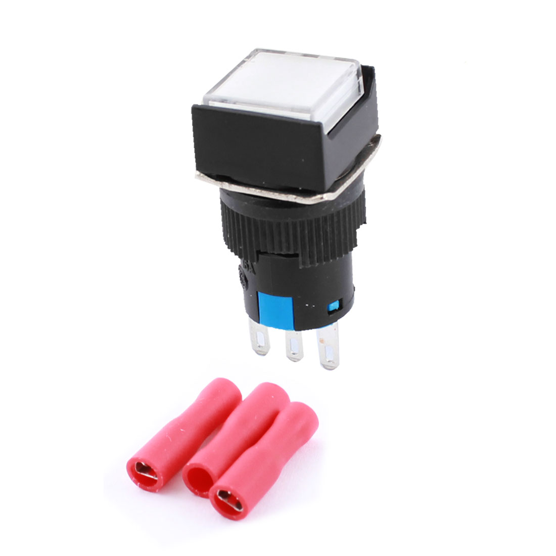 AC 250V 5A 16mm Thread 3Pins Panel Mount SPDT Non Locking Square Head Push Button Switch + 3pcs Female Terminals