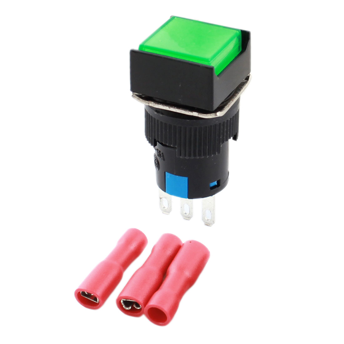 Green Button 3Pins 16mm Threaded Panel Mounted SPDT Momentary Rectangle Head Pushbutton Switch w Crimp Terminals
