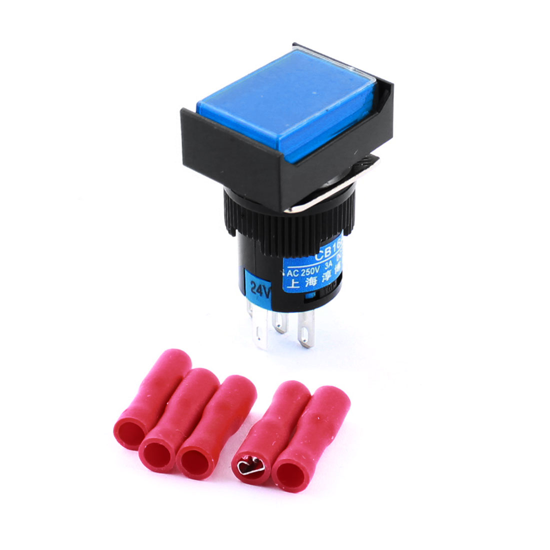 DC 24V Blue Indicator Light Lamp 5Pins 16mm Threaded Panel Mounted SPDT Self Locking Rectangle Head Pushbutton Switch + 5pcs Female Connectors