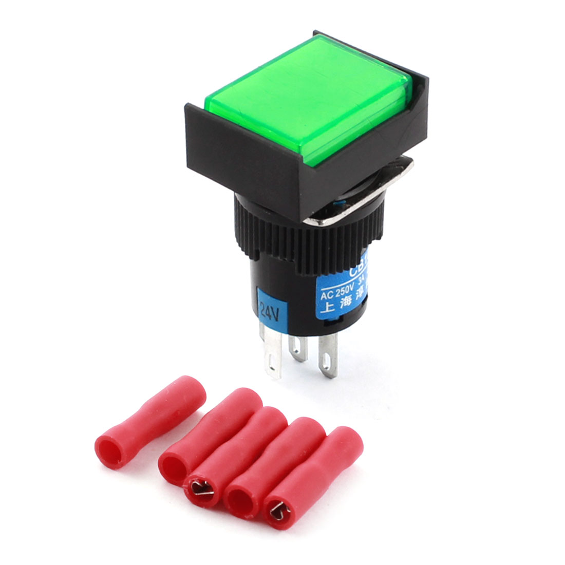 DC 24V Green Lamp Locking Rectangle Push Button Switch + Insulated Crimp Terminal