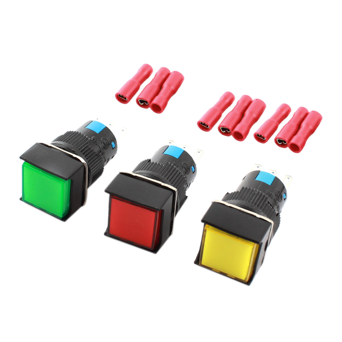 3 Pcs AC 250V 5A Red Green Yellow Button 3Pins 16mm Panel Mounted SPDT Momentary Square Head Pushbutton Switch + 9pcs Crimp Terminals