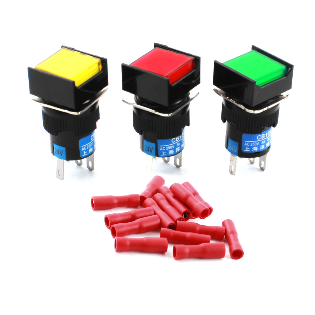 3Pcs DC 24V Red Green Yellow Indicator Light 5Pins 16mm Panel Mount SPDT Latching Square Pushbutton Switch + 15pcs Crimp Connectors