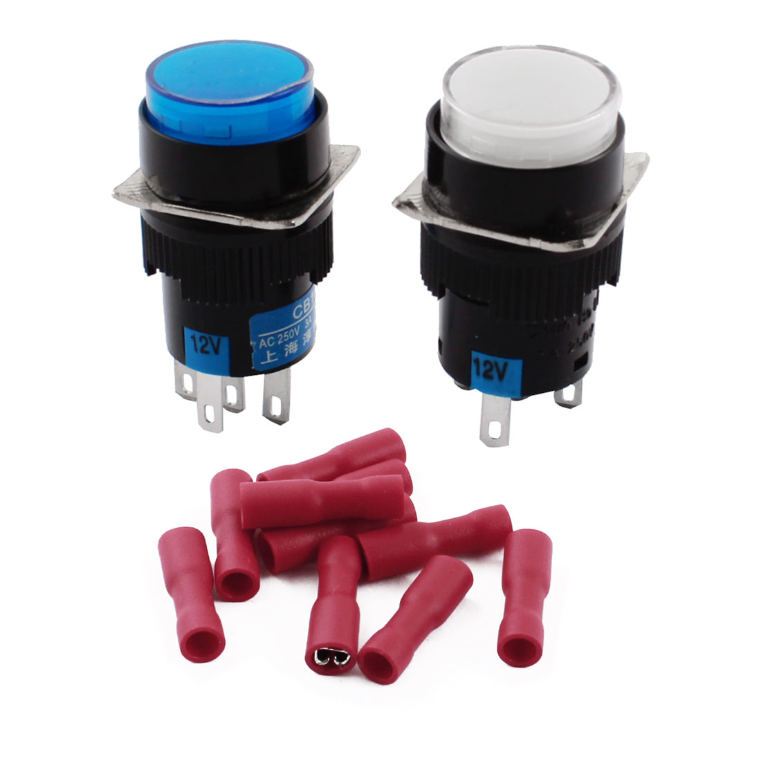 2Pcs DC 12V White Blue Pilot Light 5Pins 16mm Threaded Panel Mounted SPDT Latching Round Pushbutton Switch w Crimp Terminals
