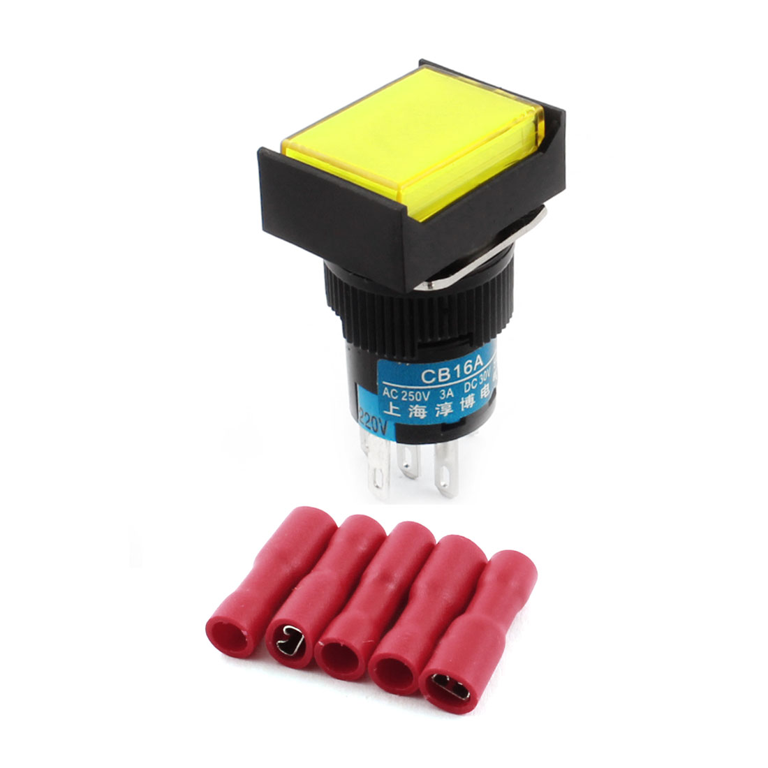AC220V Yellow Light Lamp Momentary Pushbutton Switch + 5 x Crimp Connectors