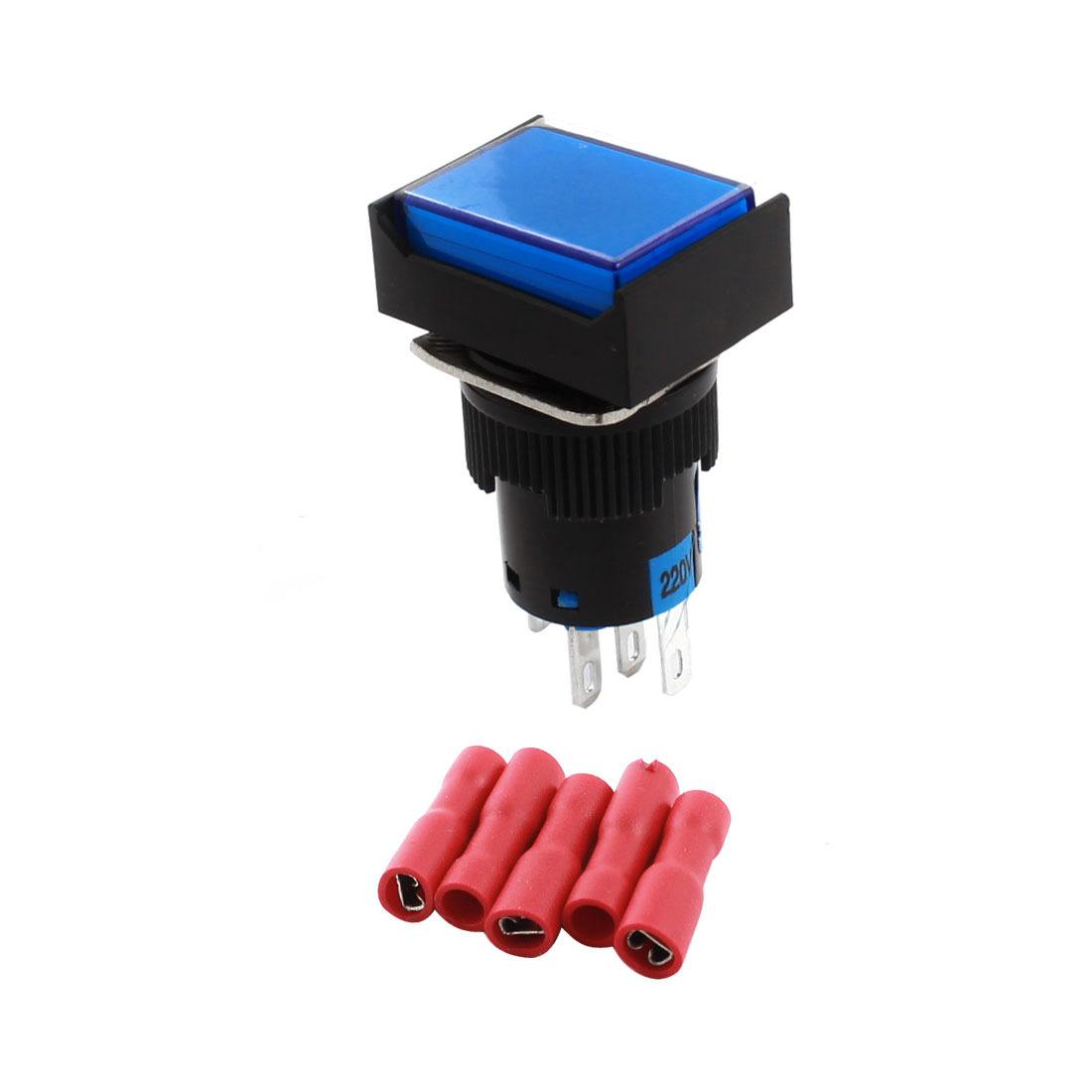 AC 220V Blue Light NO NC Momentary Rectangle Pushbutton Switch w Spade Connector