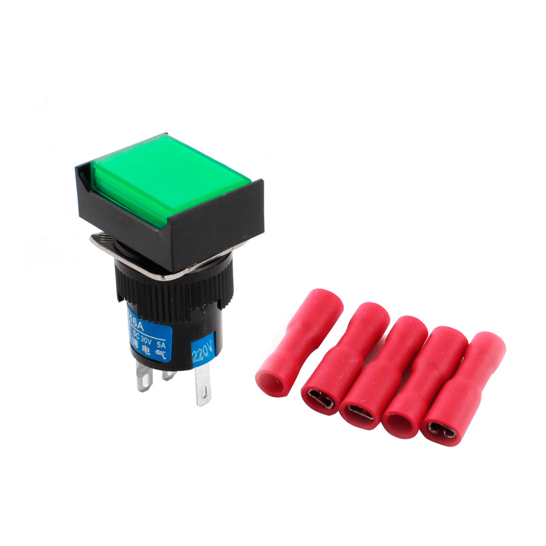 AC 220V Green Pilot Lamp Light 16mm Threaded 5Pins Panel Mounted SPDT Rectangle Head Non Locking Pushbutton Switch + 5pcs Female Terminals