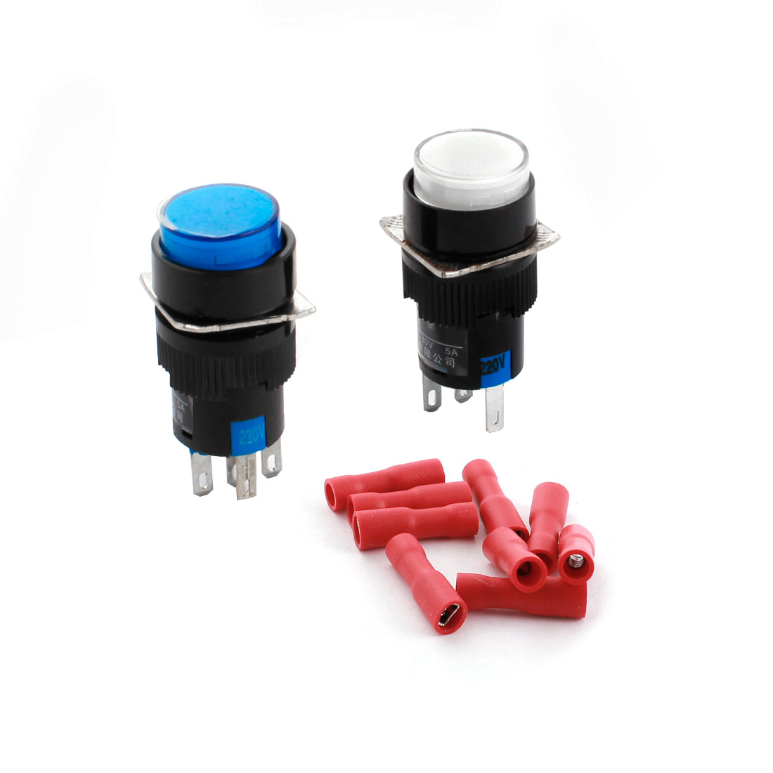 2PCS AC 220V White Blue Indicator Light Lamp 5Pins 16mm Threaded Panel Mounted SPDT Momentary Round Pushbutton Switch + 10pcs Crimp Terminals