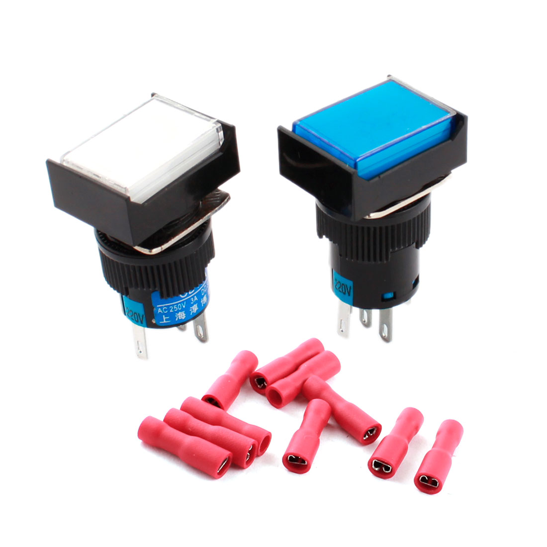 2 Pcs AC 220V Blue White Pilot Light 5Pins 16mm Threaded Panel Mounted SPDT Momentary Rectangle Head Push Button Switch + 10pcs Crimp Terminals
