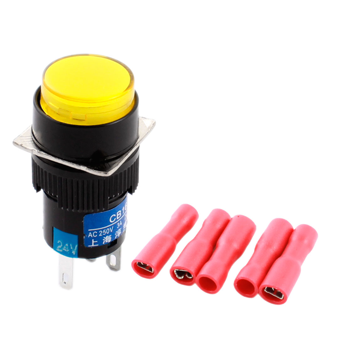 DC 24V Yellow Pilot Light 5Pins 16mm Threaded Panel Mounted SPDT Momentary Round Pushbutton Switch w 5 x Crimp Terminals