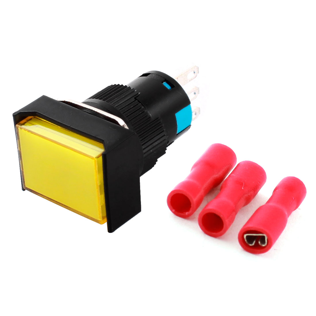 AC 250V 5A Yellow Momentary Rectangle Push Button Switch + Insulated Terminal