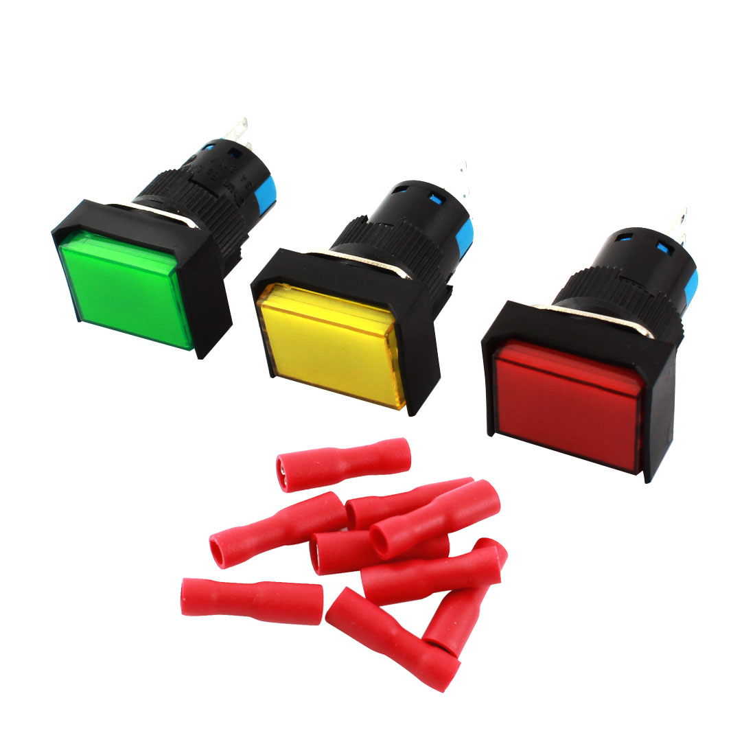 3pcs AC 250V 5A 3Pins 16mm Thread Panel SPDT Momemtary Red Green Yellow Button Rectangle Head Pushbutton Switch + 9pcs Crimp Terminals