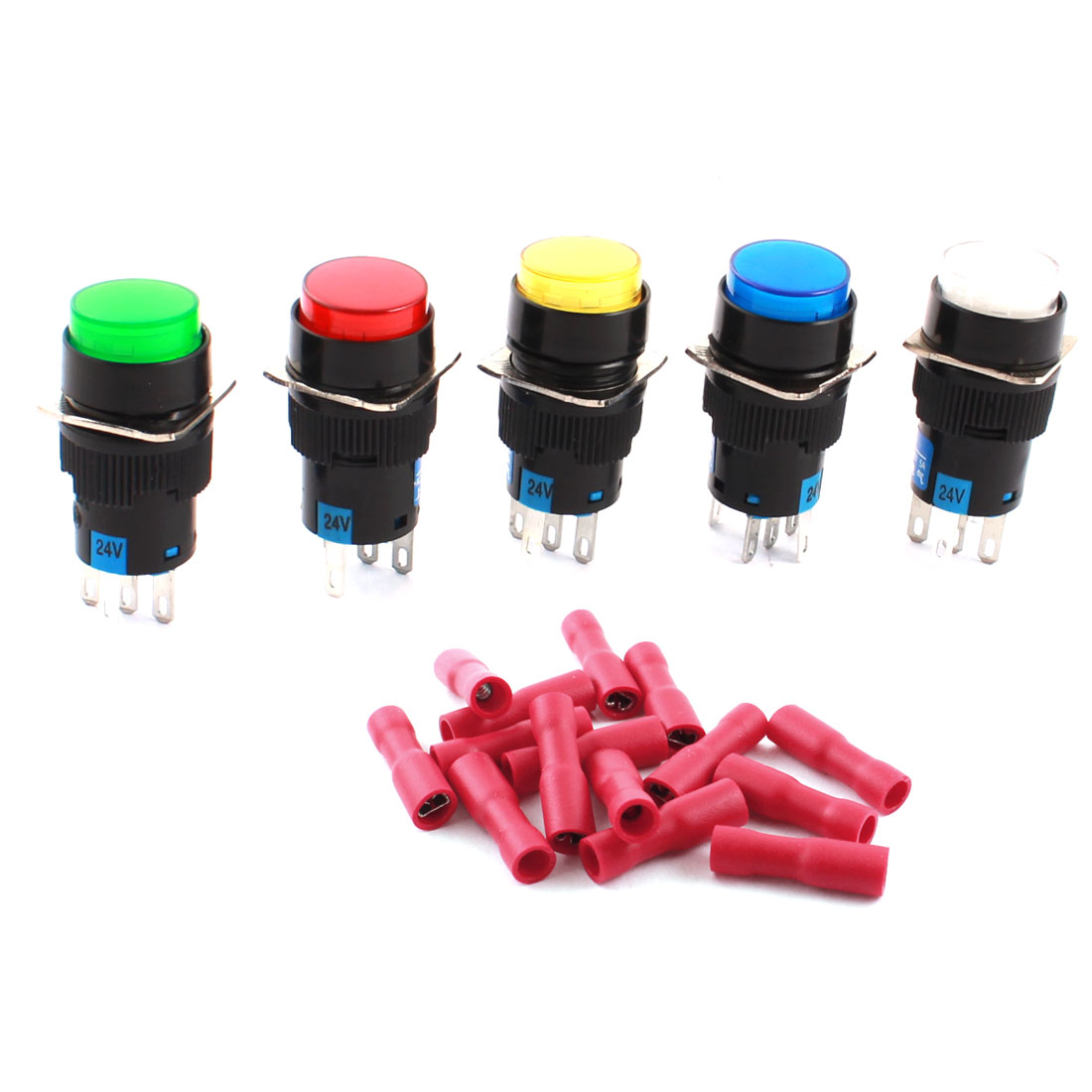 5PCS DC 24V Mixed Color Light Lamp 5Pins 16mm Threaded Panel Mounted SPDT Non Locking Round Push Button Switch + 25pcs Crimp Connectors