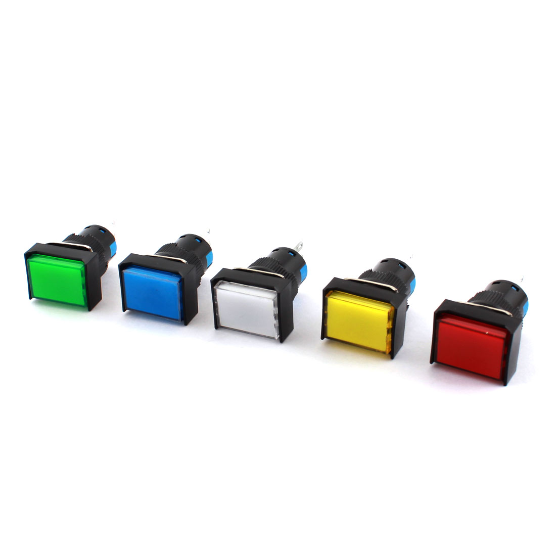 5 Pcs AC 250V 5A Assorted Color Button 16mm Thread Panel Mounted SPDT 3Pins Momentary Rectangle Pushbutton Switch
