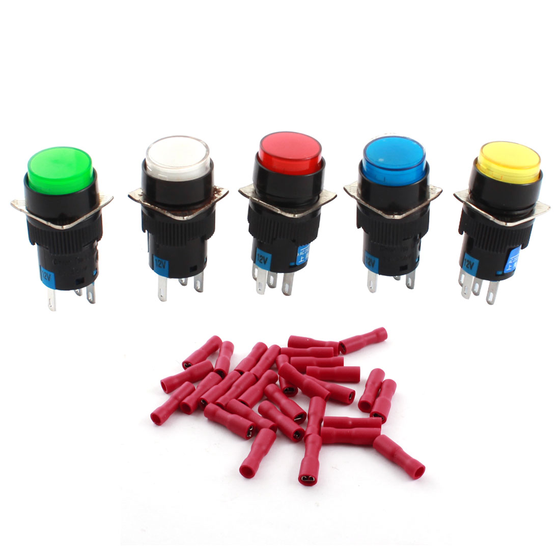 5pcs DC 12V Light SPDT 5 Pin Latching Round Push Button Switch + Spade Terminal