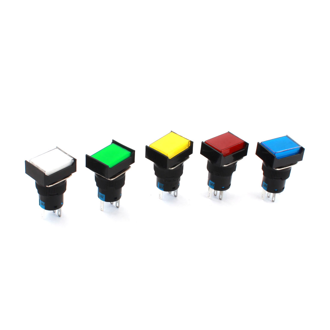 5 Pcs DC 24V 5Colored Indicator Light 16mm Thread Panel Mounted SPDT 1NO 1NC 5Pins Locking Type Rectangle Button Pushbutton Switch