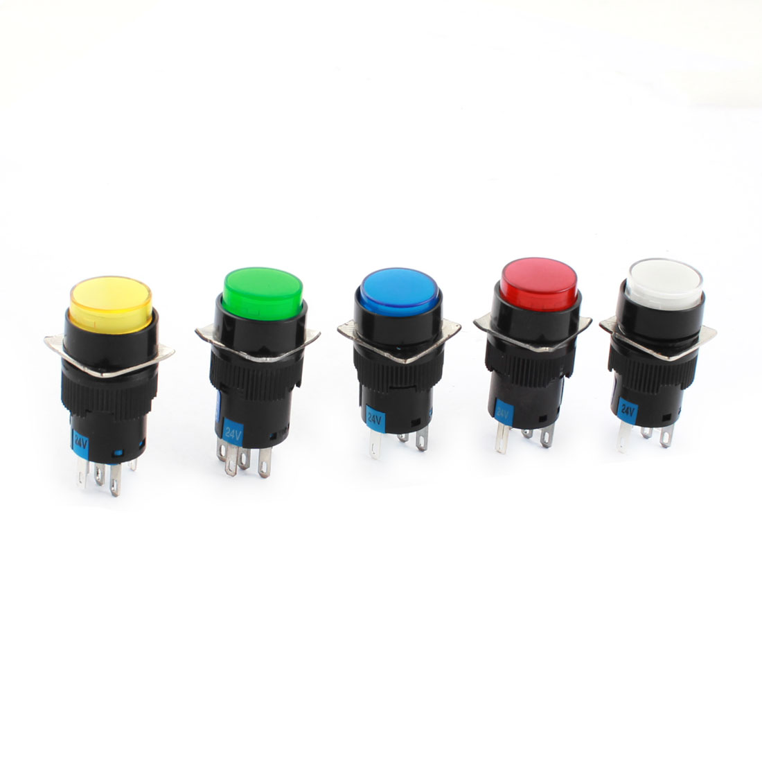 5pcs DC 24V Assorted Colored Indicator Light Panel Mount SPDT 1NO 1NC 5 Termianls Locking Type Round Head Pushbutton Switch 16mm Thread