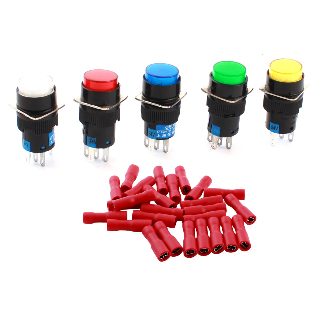 5PCS DC 24V Mixed Color Indicator Light Lamp 5Pins 16mm Threaded Panel Mounted SPDT Self Locking Round Pushbutton Switch + 25pcs Crimp Connectors